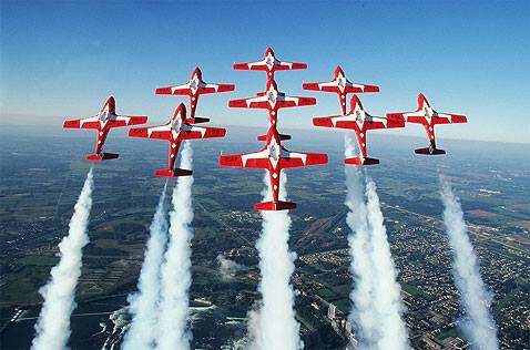 The Snowbirds come to Comox to train every April, and fly right over our property. The best seats in town!